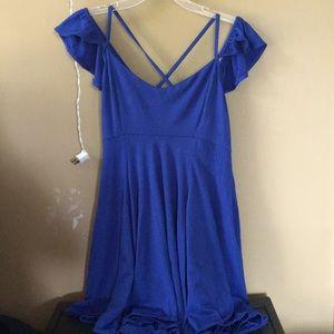 Off the shoulder flowy blue dress
